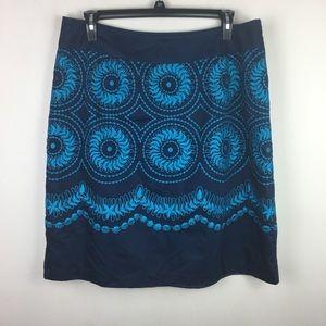 Elisabeth blue embroidered midi skirt